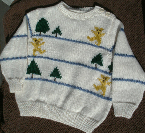"Baby Sweater -  ""Dancing Teddy Bears""   ---  FAST and FREE Shipping--SALE-SALE - 30% off until 9/01/2020 - SALE PRICE - $34.96."