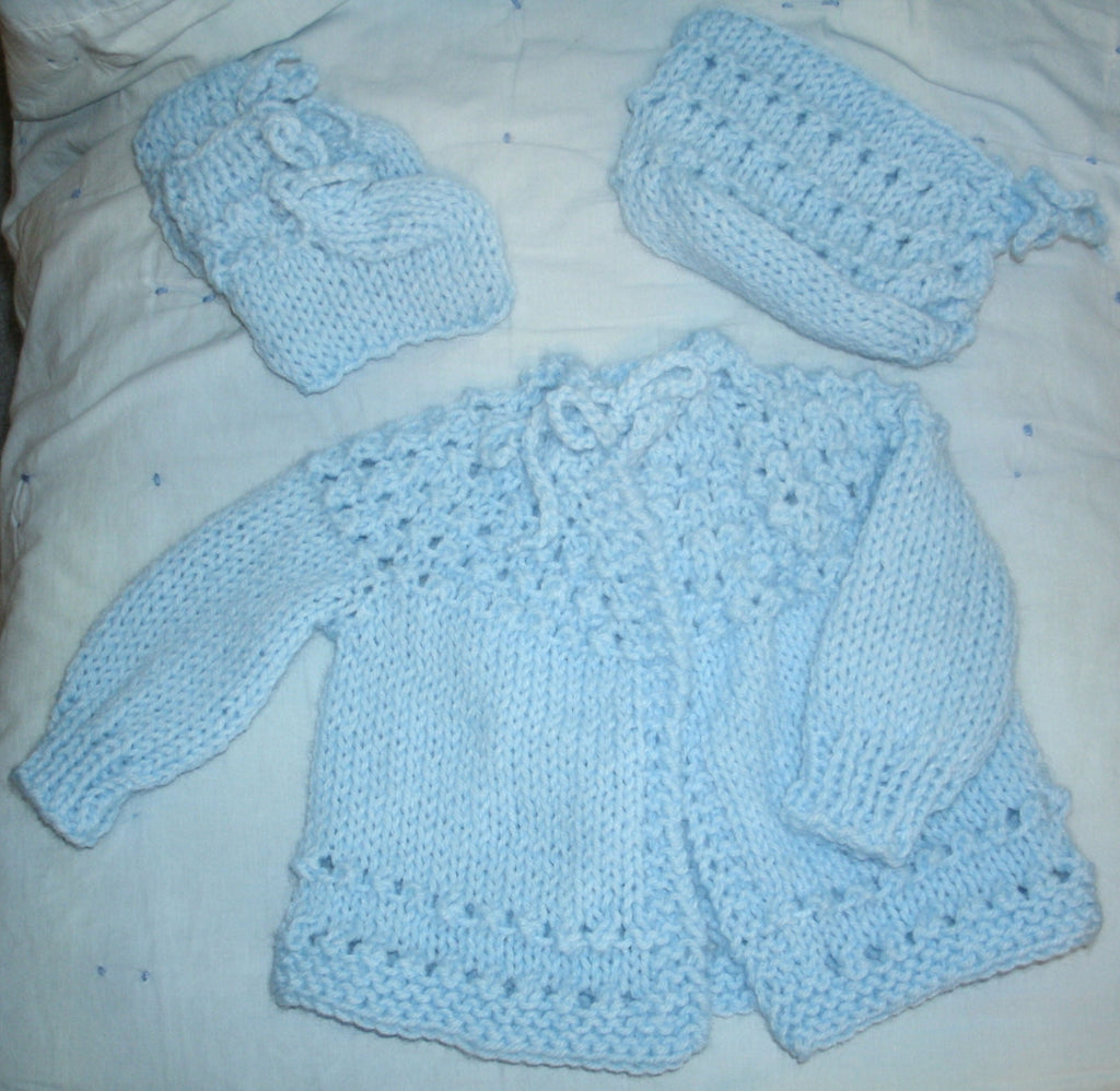 "Baby Sweater Set - ""Sweet Baby"" in Light Blue   ---  FAST and FREE Shipping"