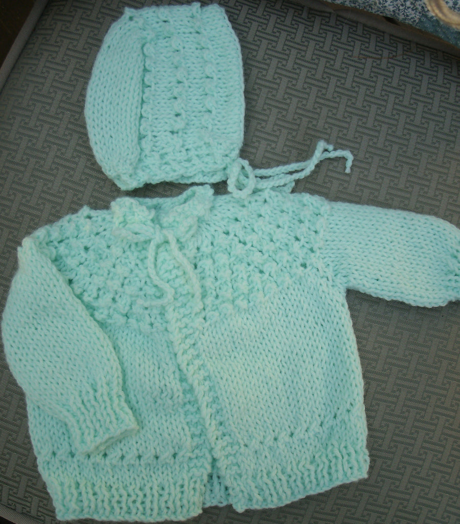 "Baby Sweater Set - ""Sweet Baby"" in Light Green   ---  FAST and FREE Shipping"