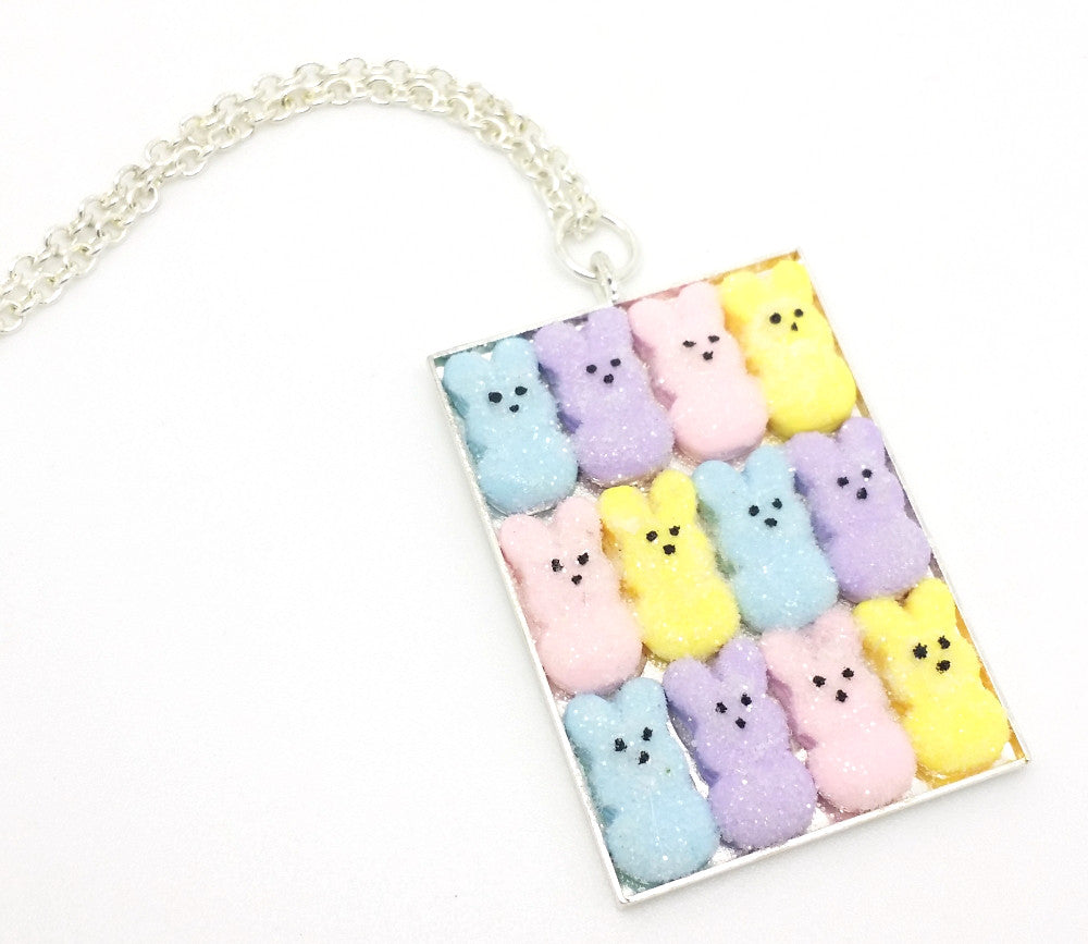 Box of Marshmallow Bunnies Necklace - Bakery Charms - 1