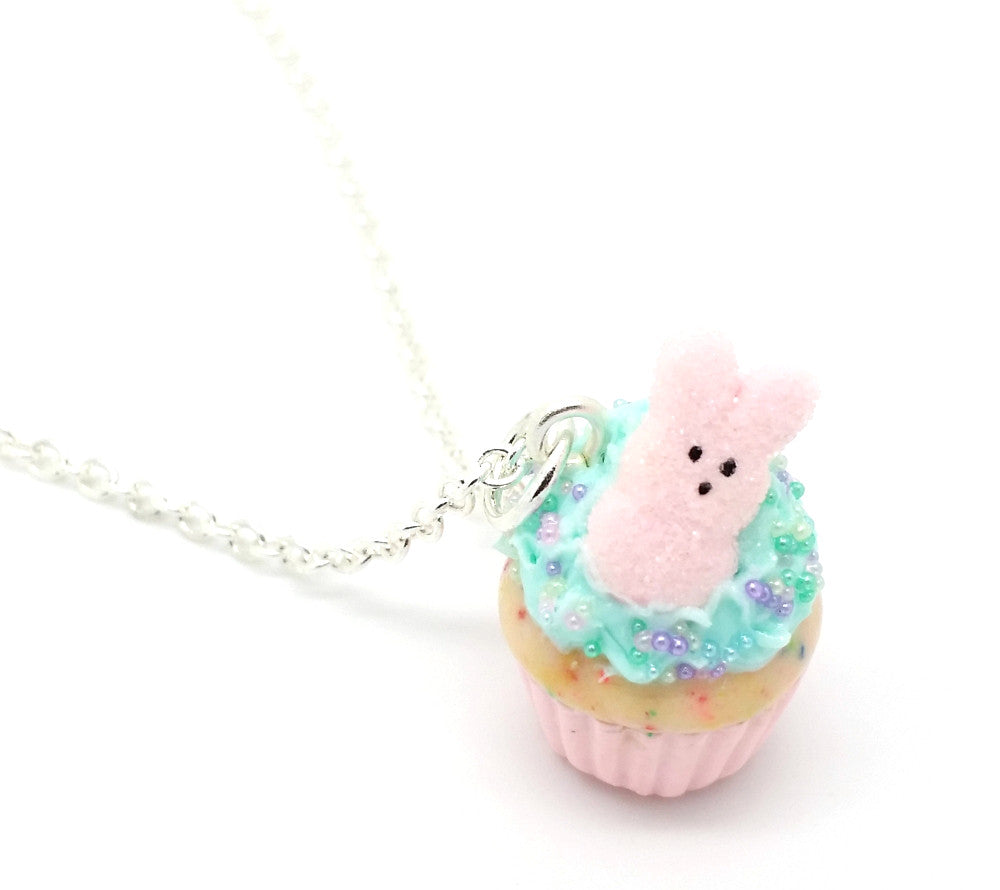 Pink Marshmallow Bunny Confetti Cupcake Necklace - Bakery Charms - 1