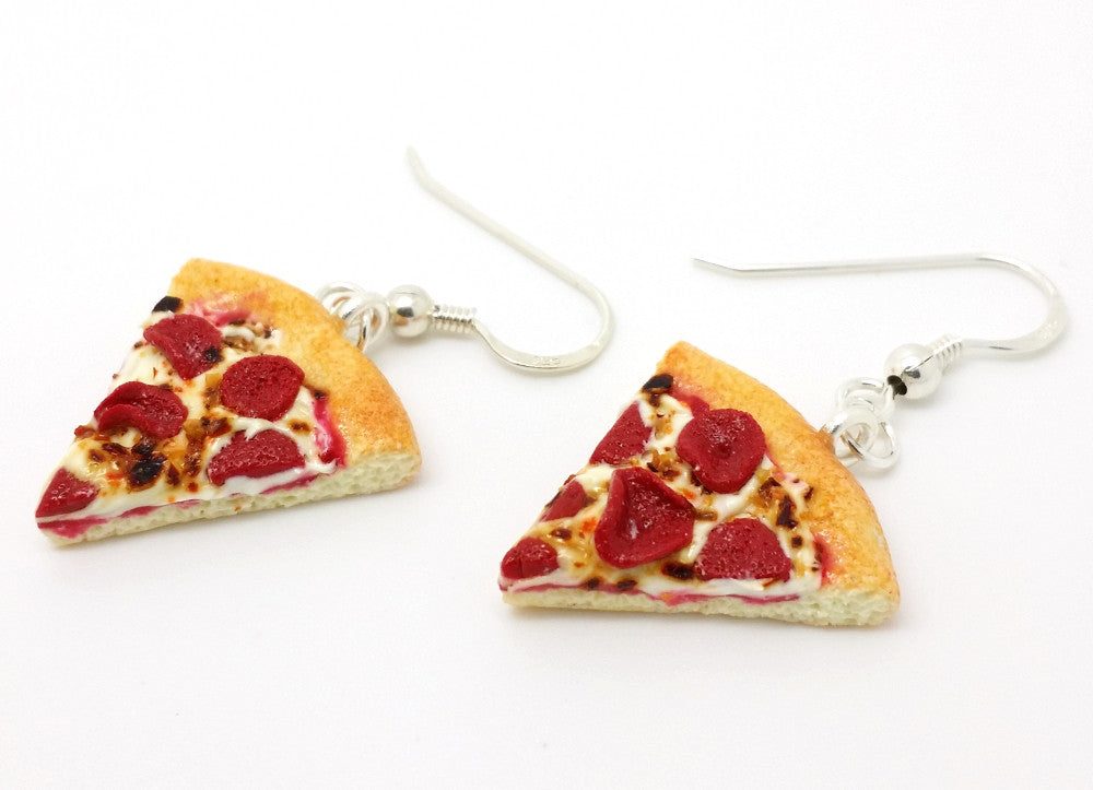 Pepperoni Pizza Slice Earrings - Bakery Charms - 1