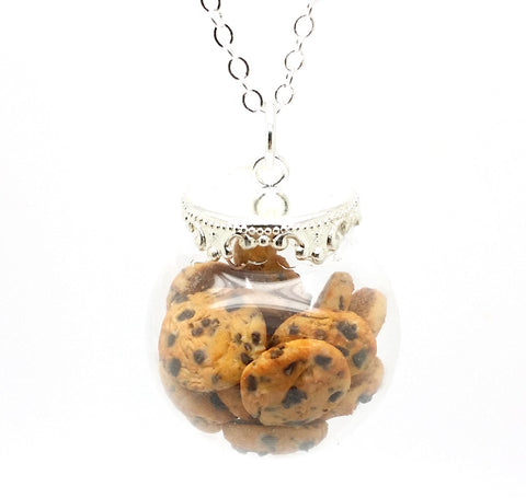 Chocolate Chip Cookies Globe Necklace - Bakery Charms - 1
