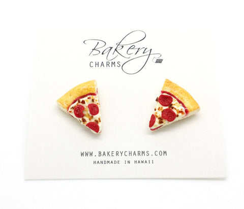 Pepperoni Pizza Slice Stud Earrings - Bakery Charms - 1