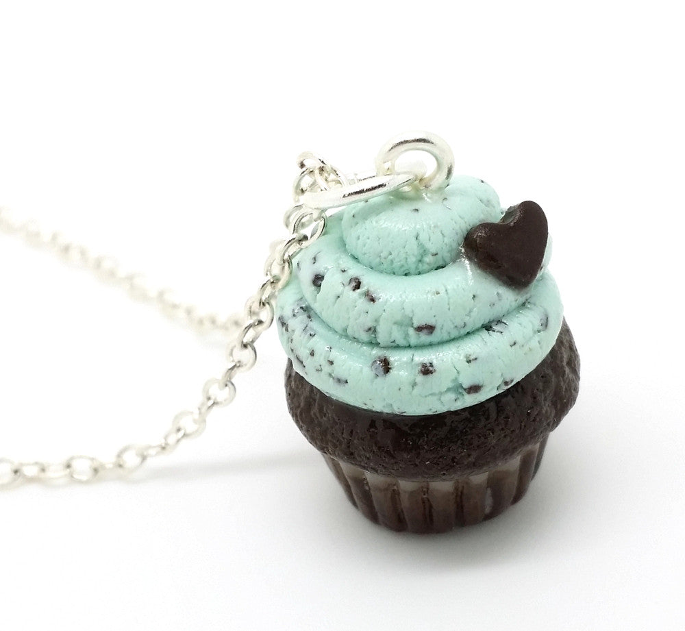 Mint Chocolate Chip Cupcake Necklace - Bakery Charms - 1