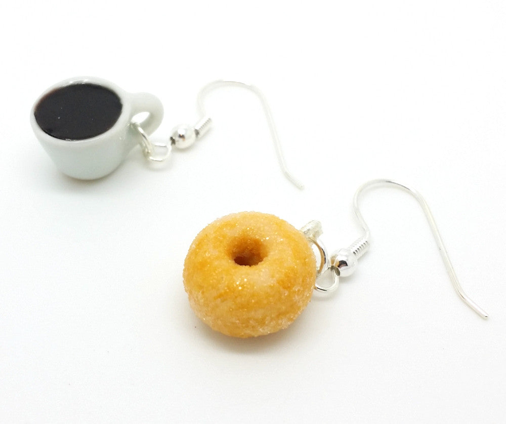 Coffee and Donut Earrings - Bakery Charms - 1