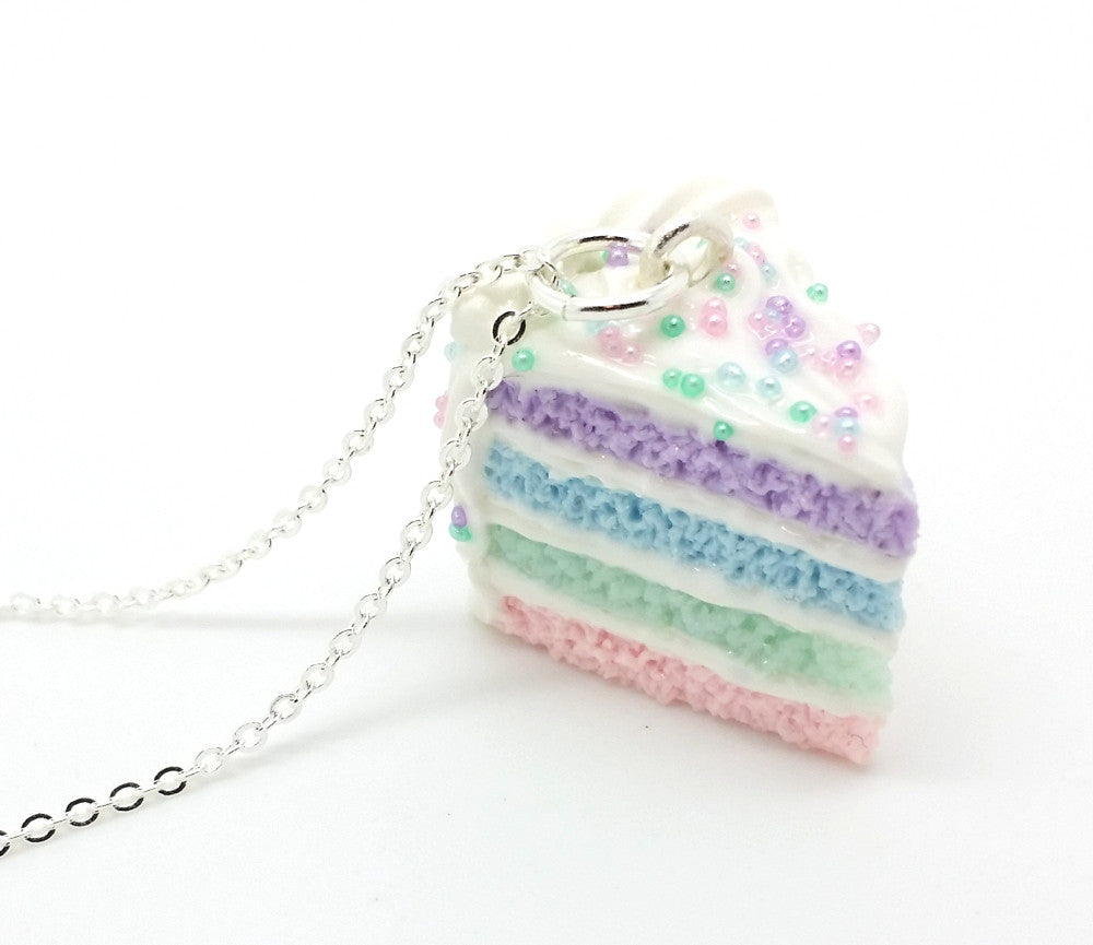Pastel Sprinkle Cake Slice Necklace - Bakery Charms - 1