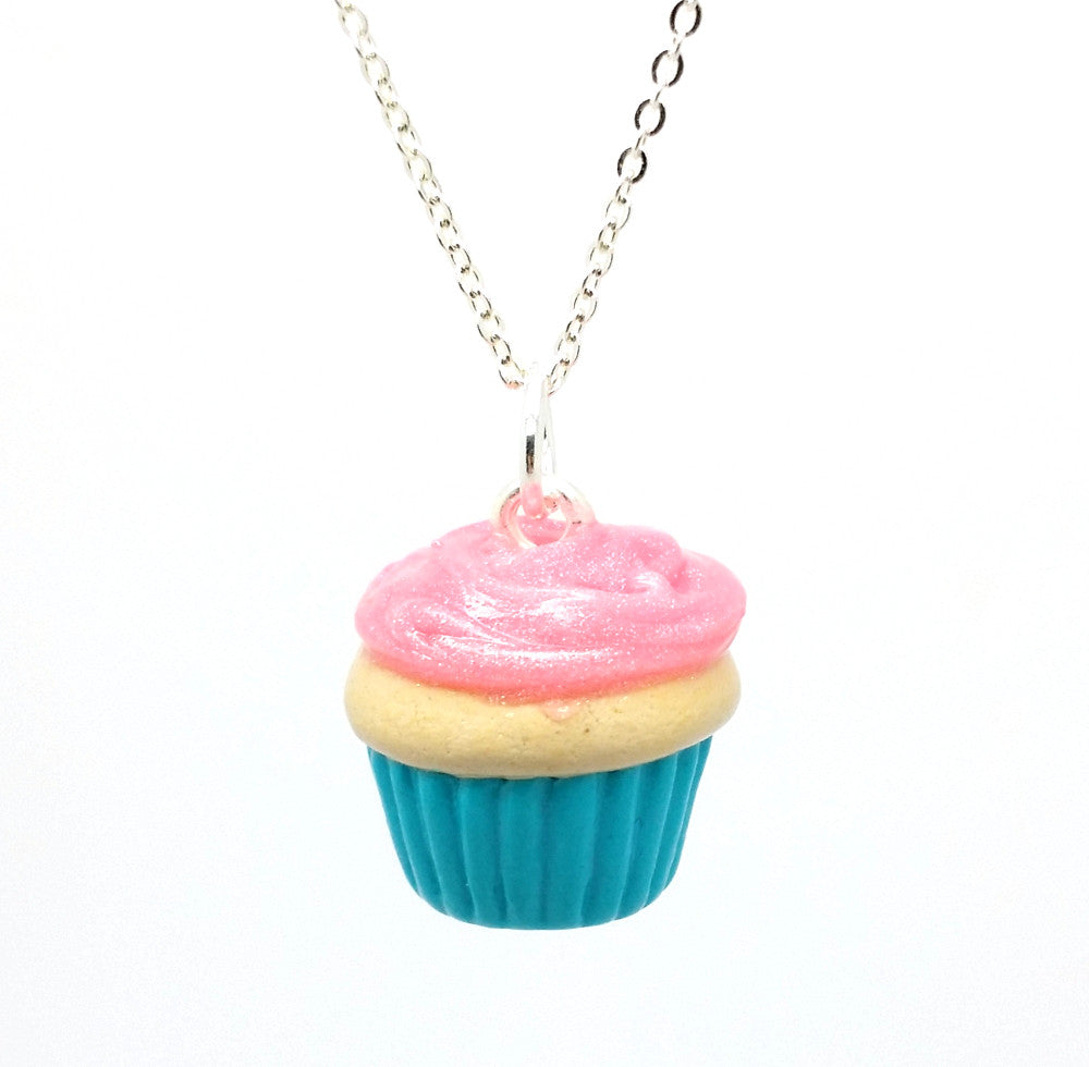 Sparkle Pink Vanilla Cupcake Necklace - Bakery Charms - 1