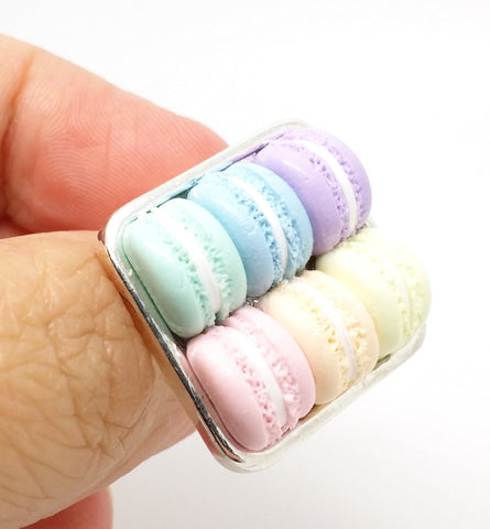 Box of Pastel Macarons Ring - Bakery Charms - 1