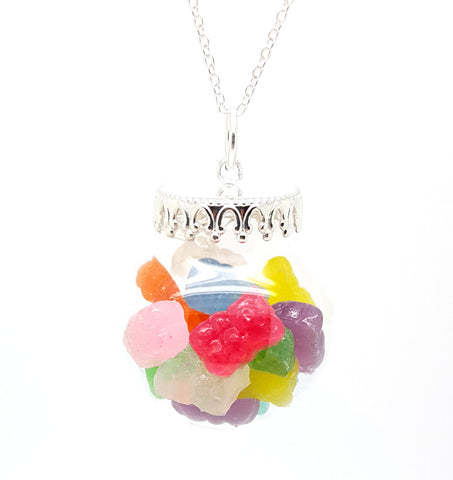 Assorted Gummy Bears Globe Necklace - Bakery Charms - 1