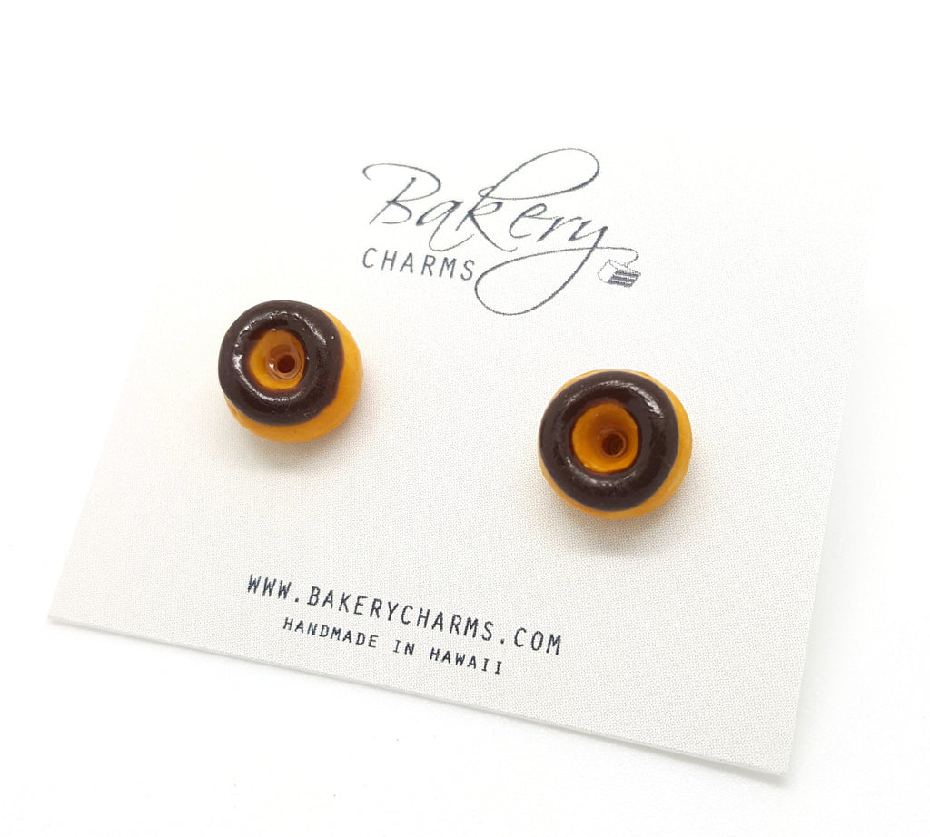 Chocolate Frosted Donut Stud Earrings - Bakery Charms - 1