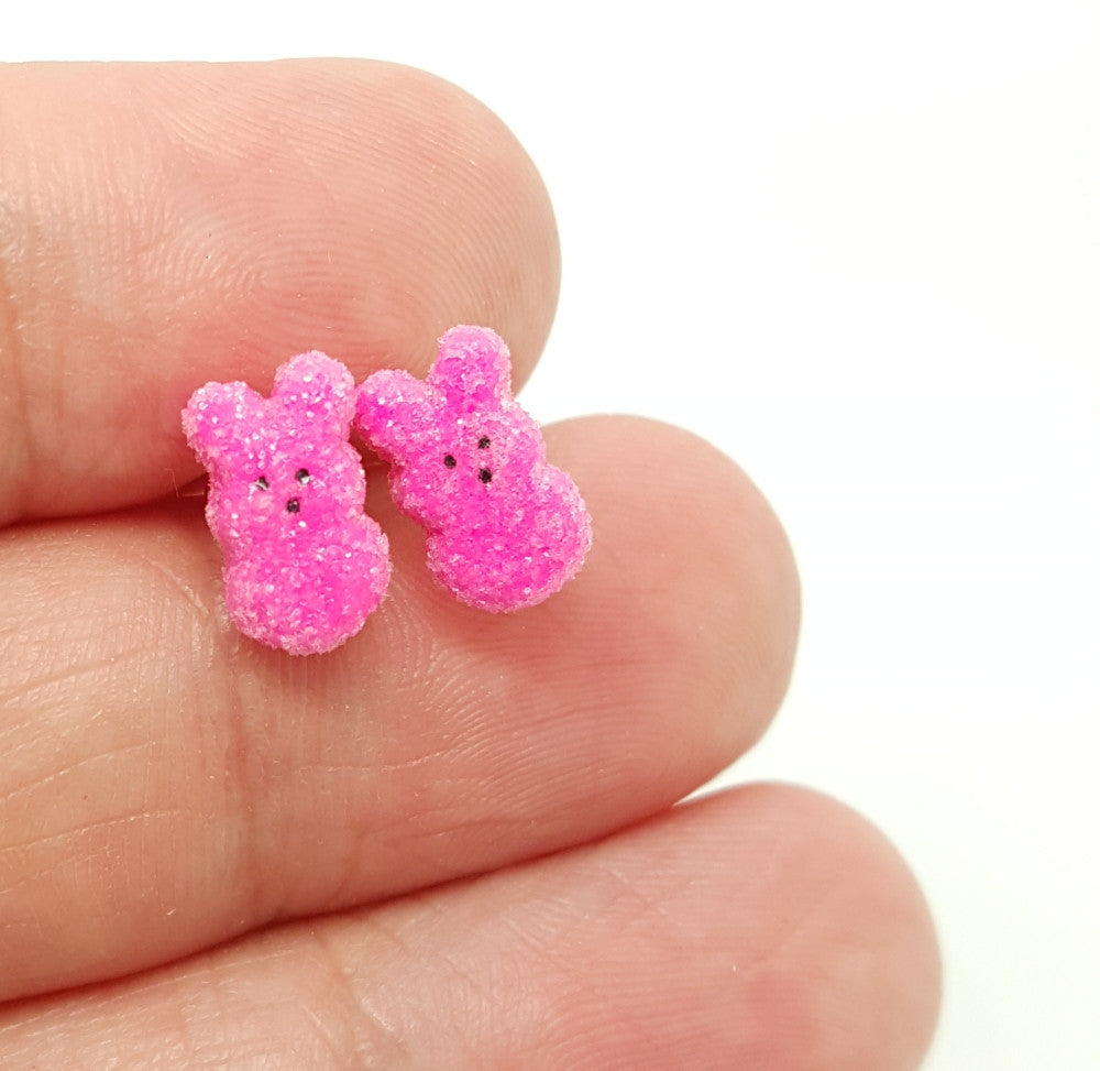 Marshmallow Bunny Stud Earrings - Bakery Charms - 1