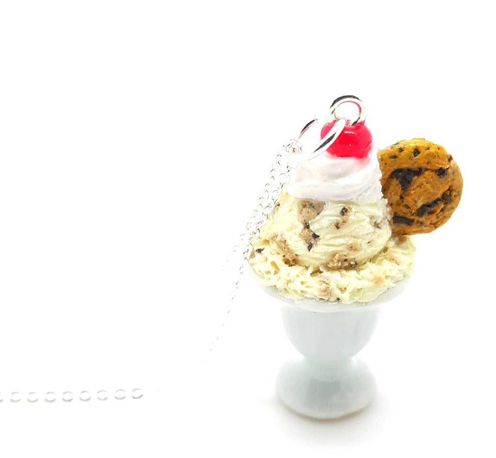 Chocolate Chip Cookie Dough Ice Cream Sundae Necklace - Bakery Charms - 1