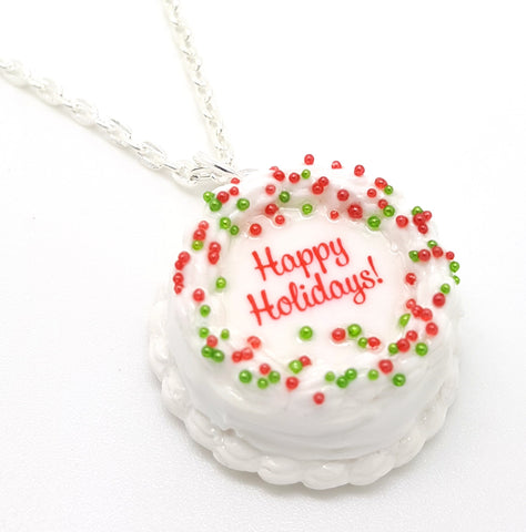 Happy Holidays Round Cake Necklace