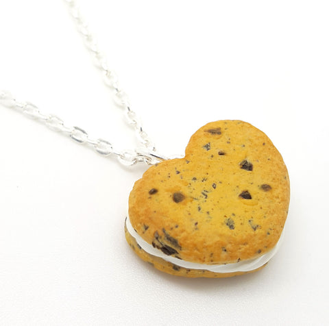 Chocolate Chip Cookie Heart Ice Cream Sandwich Necklace