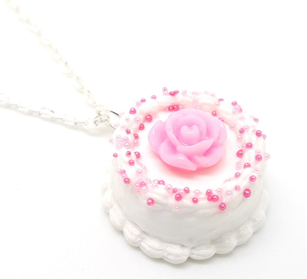 Vanilla Rose Cake Necklace