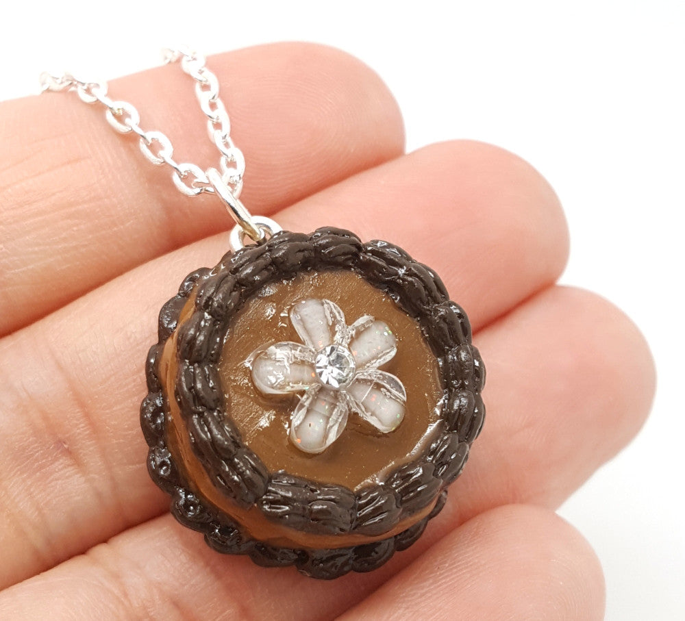 Chocolate Flower Cake Necklace