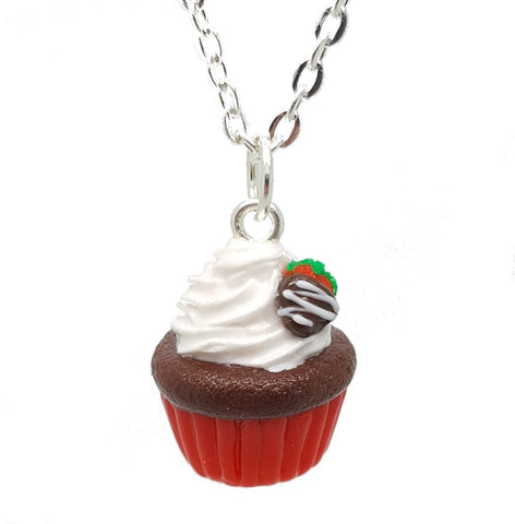 Chocolate Covered Strawberry Cupcake Necklace