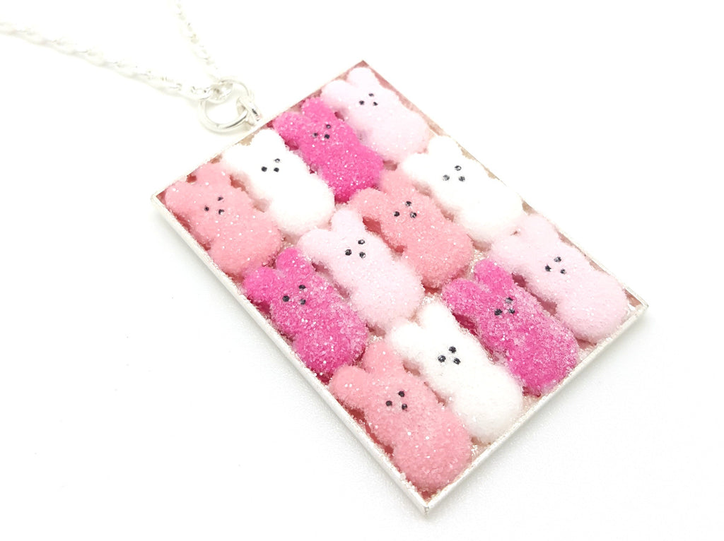 Box of Pink Ombre Marshmallow Bunnies Necklace