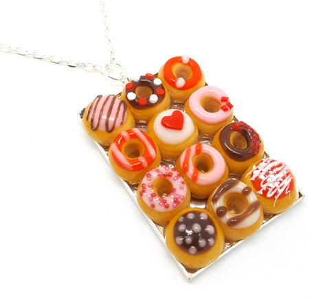 Box of Dozen Valentine's Donuts Necklace