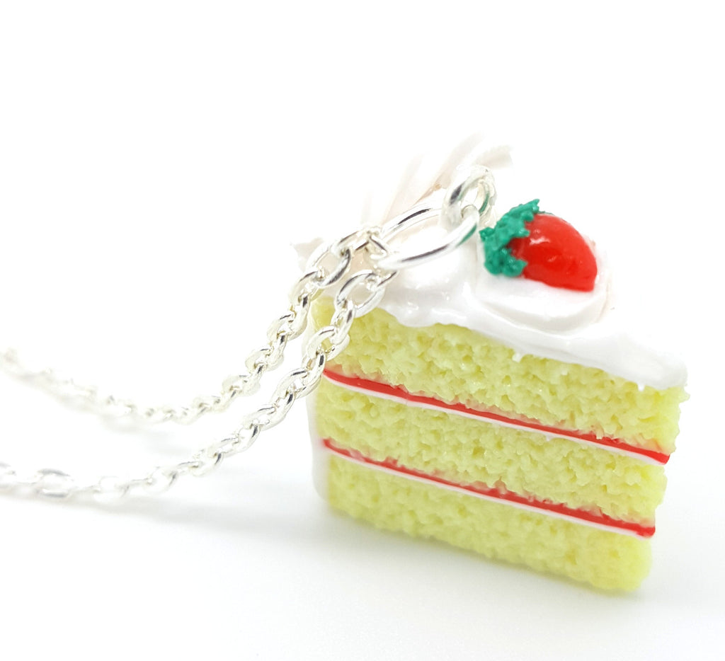Strawberry Yellow Cake Slice Necklace