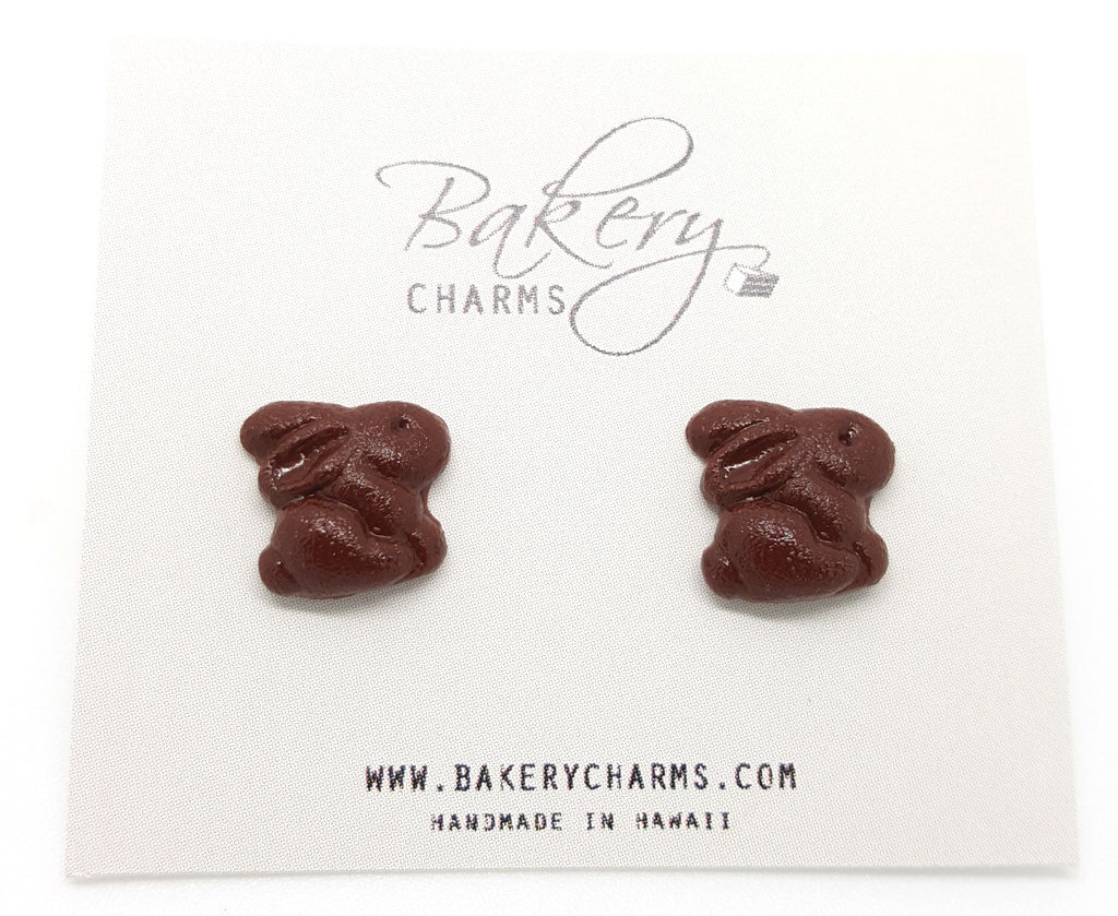 Chocolate Bunny Stud Earrings