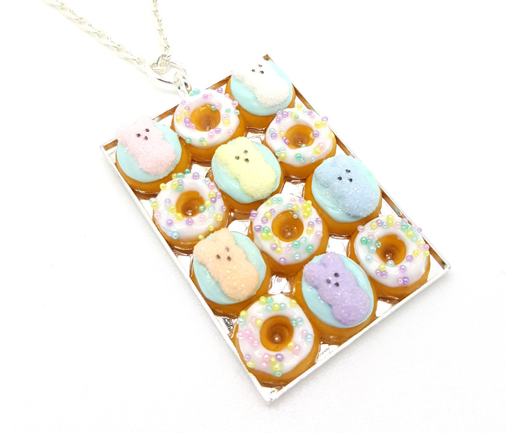 Box of Marshmallow Bunny Easter Donuts Necklace