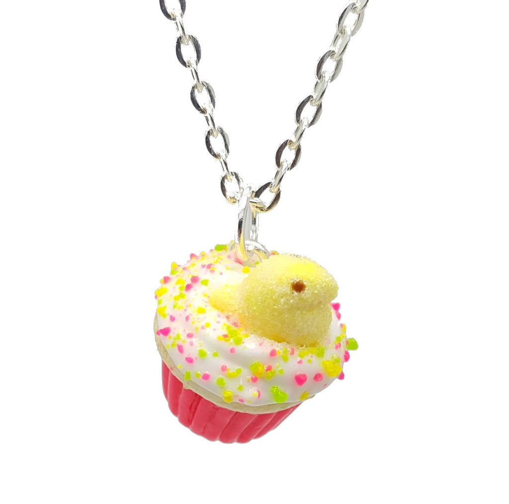 Yellow Marshmallow Chick Cupcake Necklace