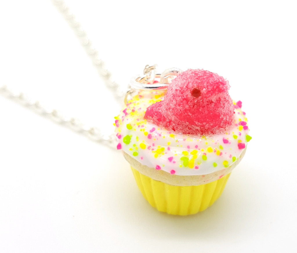 Hot Pink Marshmallow Chick Cupcake Necklace