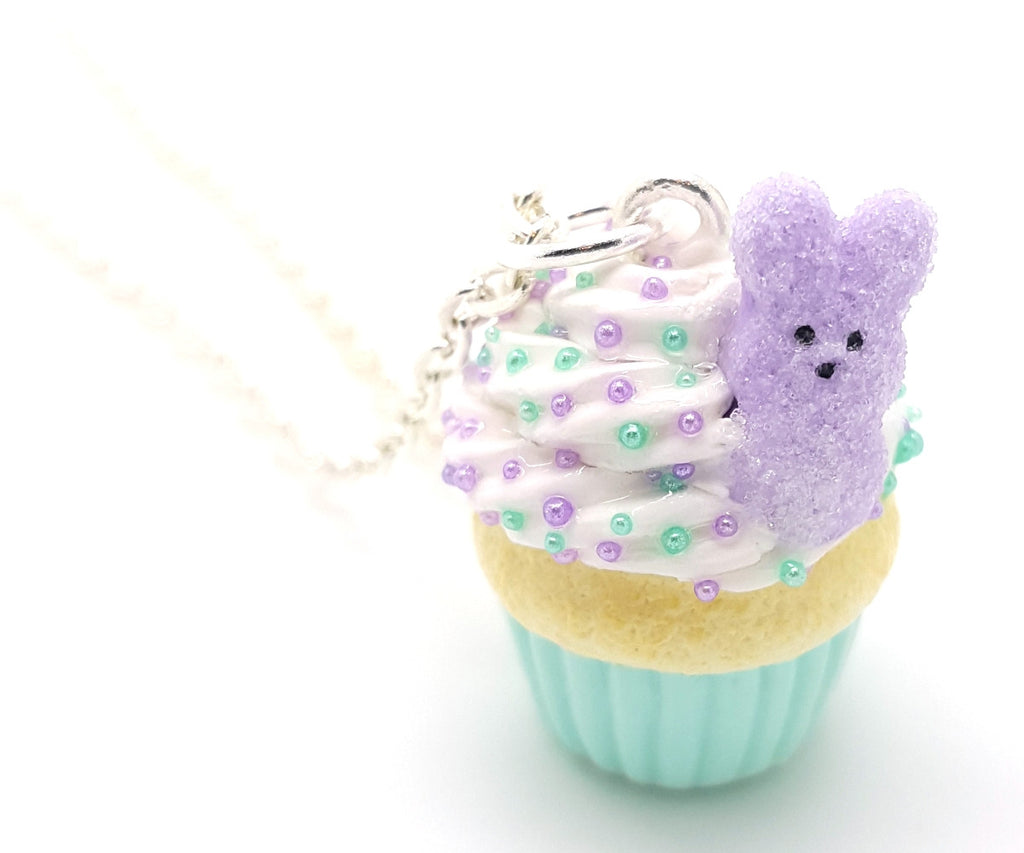 Lavender Marshmallow Bunny Cupcake Necklace