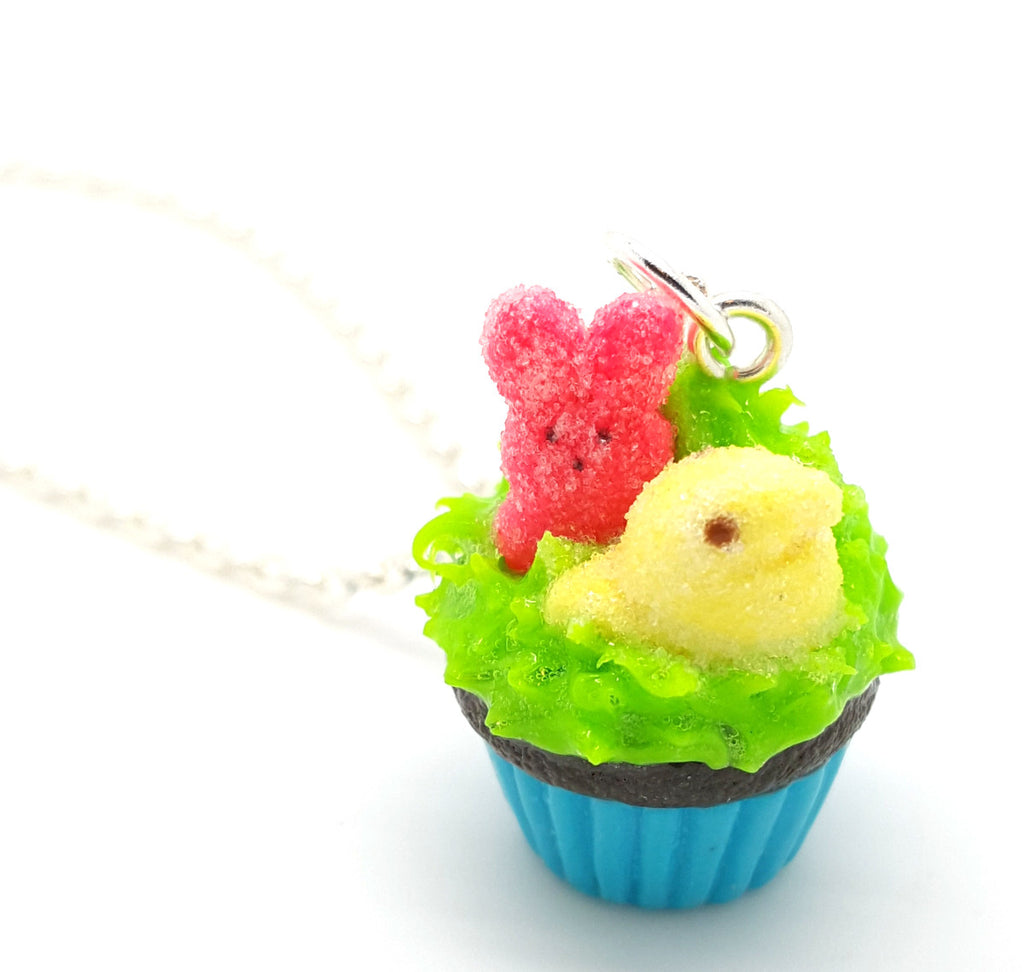 Marshmallow Bunny and Chick Cupcake Necklace