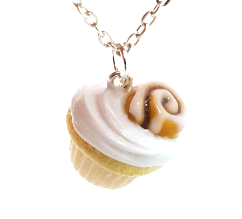 Cinnamon Roll Cupcake Necklace