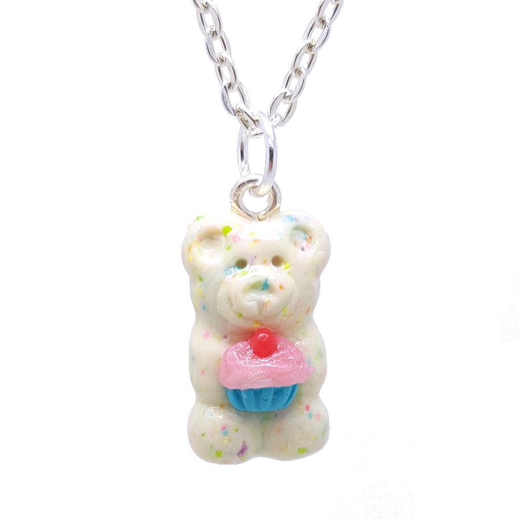 Birthday Cupcake Confetti Candy Bear Necklace