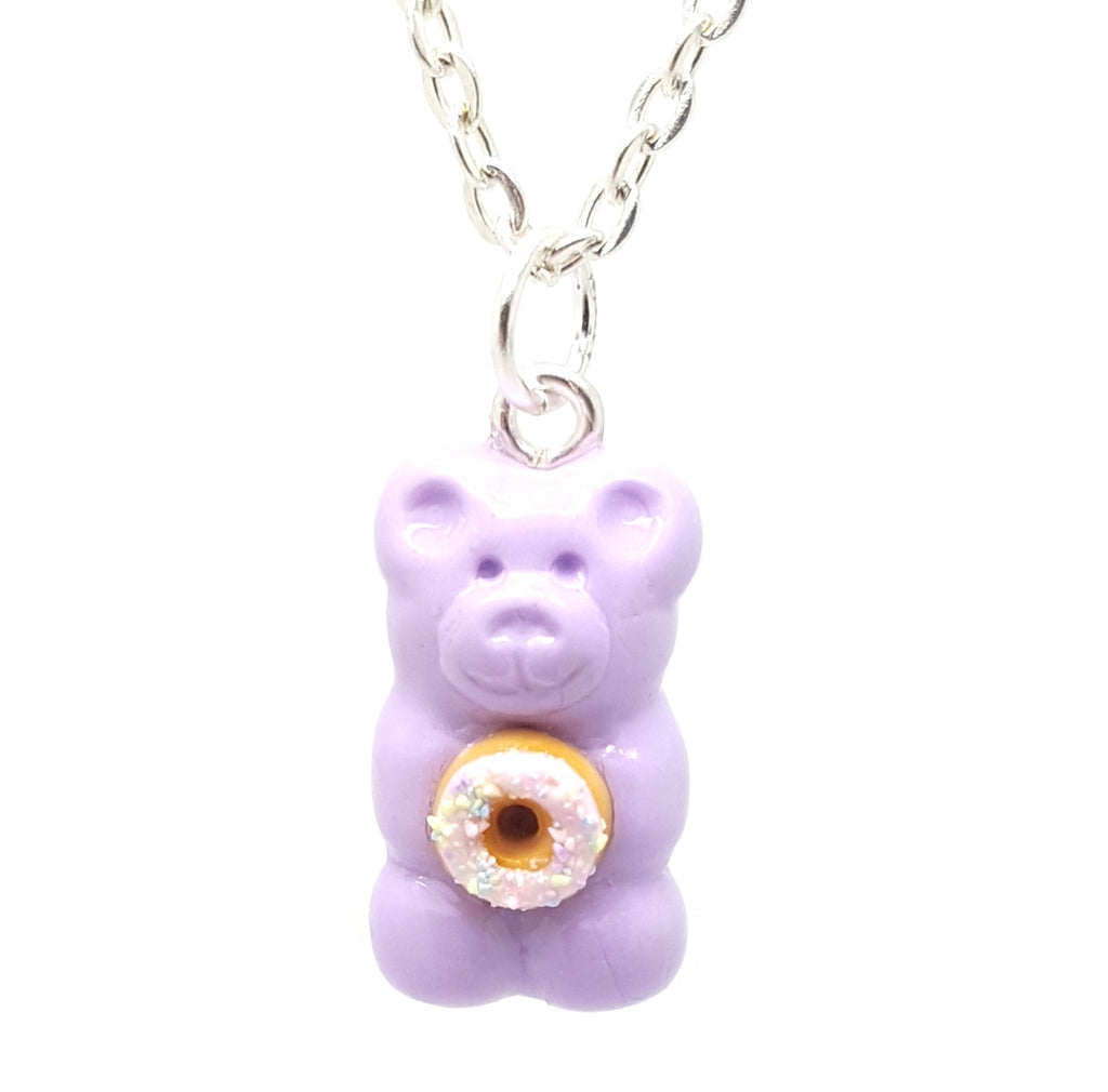 Pastel Donut Candy Bear Necklace