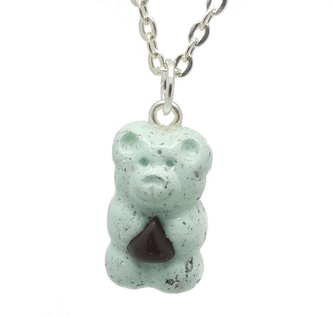 Mint Chocolate Chip Candy Bear Necklace