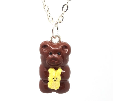 Chocolate Marshmallow Bunny Candy Bear Necklace