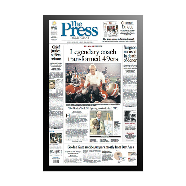 The Press Democrat Classics:  Bill Walsh Legendary 49ers Coach  Front Page