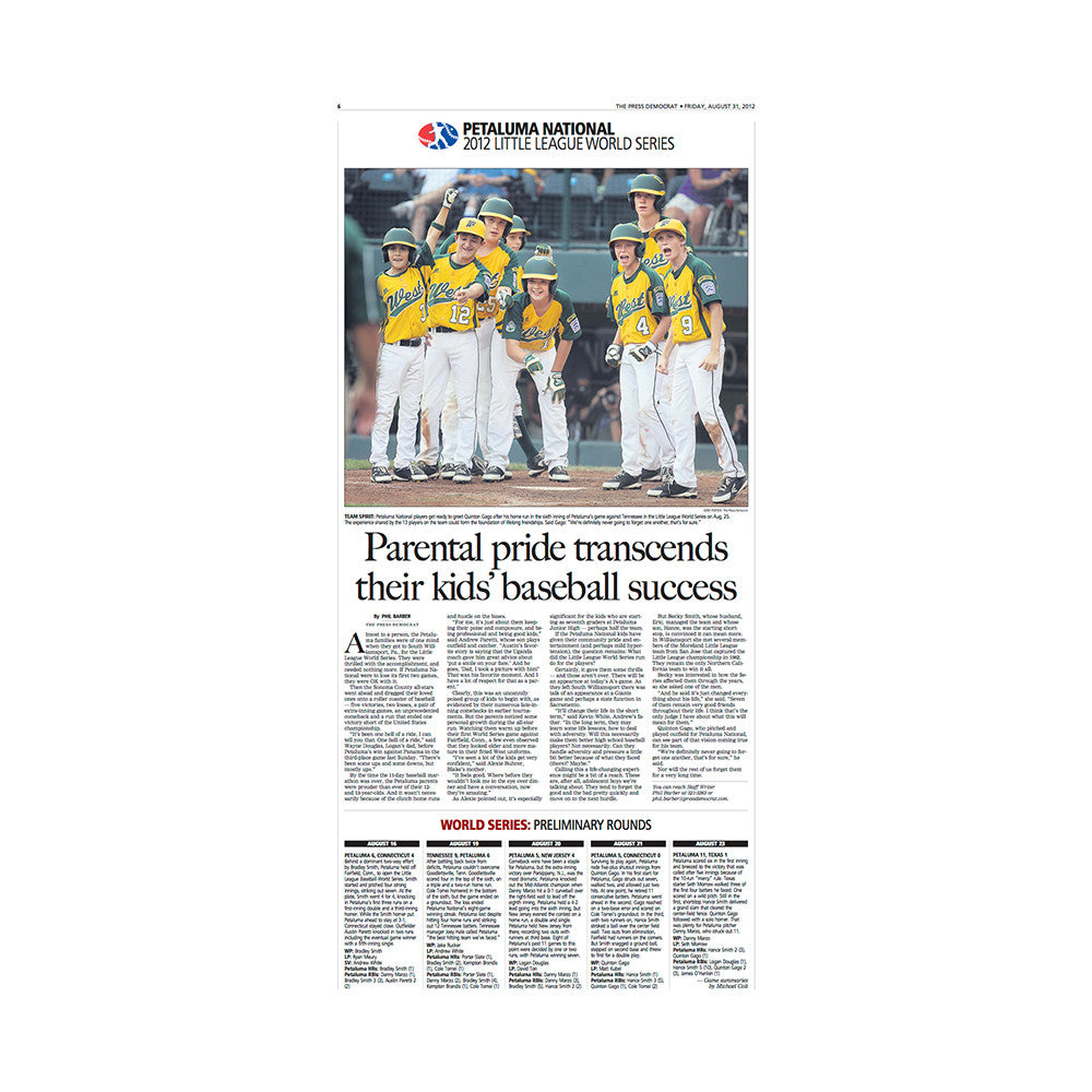 The Press Democrat Classics:  Petaluma Wins 2012 National Little League World Series - Inside Page III