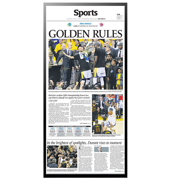 Warriors 2017 Champions Sports Page Reprint