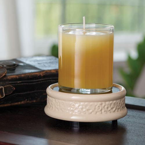 Candle Warmer - Cream Embossed