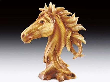Horse Wood Like Carved Statute | Woodland Apothecary®