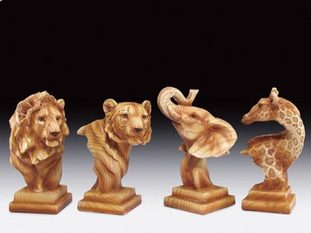 Wood Like Carved Statute (Lion, Tiger, Elephant or Giraffe) | Woodland Apothecary®