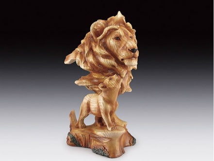 Lion With Cub Wood Like Carved Statute | Woodland Apothecary®