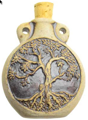 Tree of Life Ceramic Clay Oil Bottle | Woodland Apothecary®