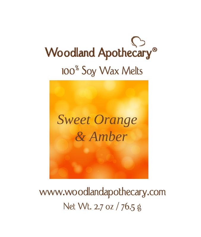 Sweet Orange & Amber Soy Wax Melts | Woodland Apothecary®