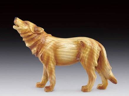 Howling Wolf Wood Like Carved Statute | Woodland Apothecary®