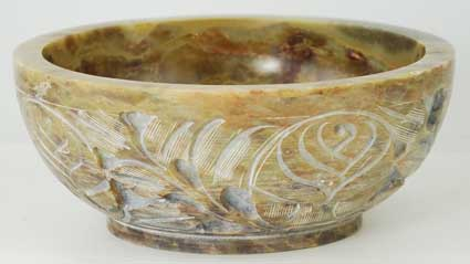 Miscellaneous - Soapstone Floral Smudge or Scrying Bowl