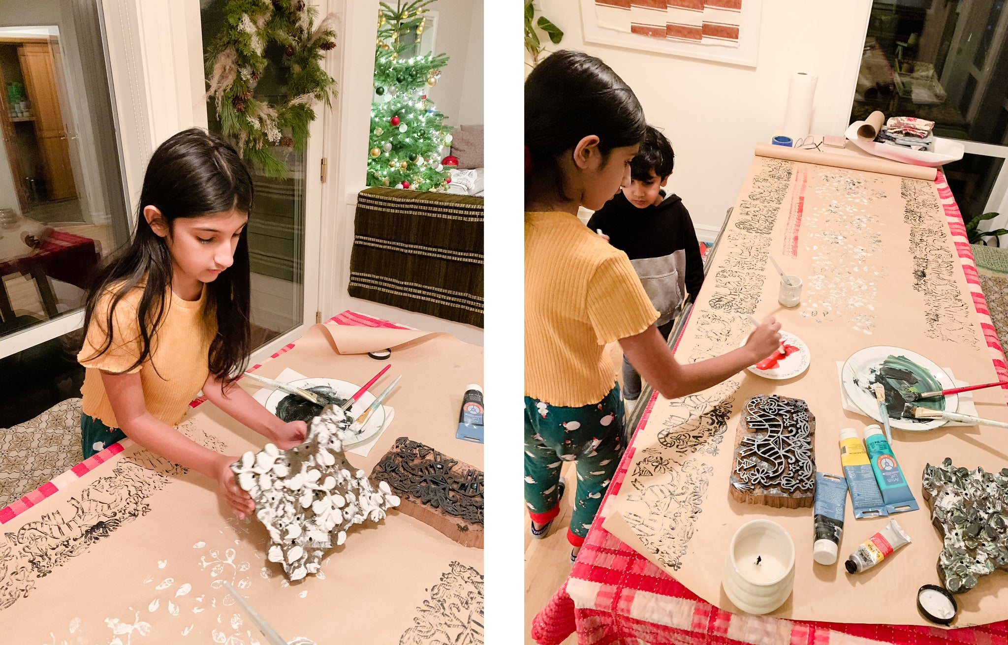 Block Printing Wrapping Paper with Kids