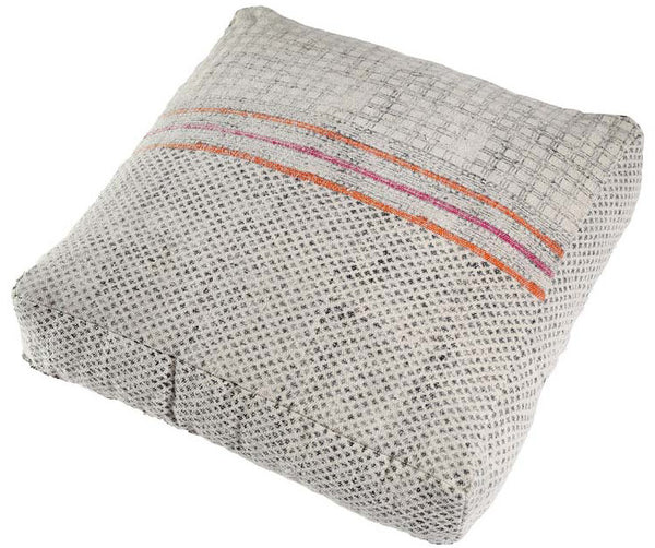 Handmade White, Pink, and Orange Overdyed Cotton Floor Cushion