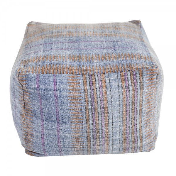 Handmade Indigo and Orange Overdyed Cotton Pouf